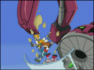Amy and Tails falling