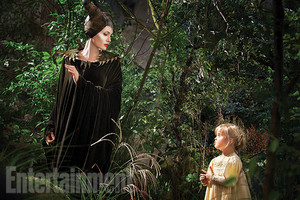 Angelina Jolie and Vivenne Jolie Pitt,as young Aurora in Maleficent