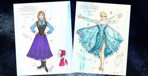 Anna and Elsa - Disney On Ice Costume Concept Art