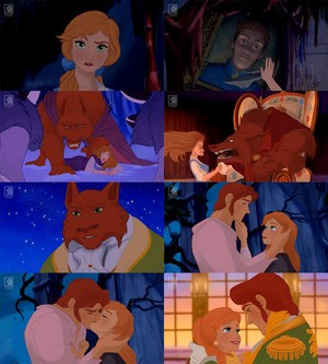 Anna as Belle and Hans as The Beast