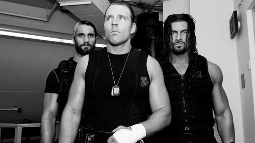 The Shield (WWE) wallpaper possibly containing a diner and a sign titled Backstage with The Shield