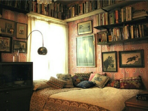membaca wallpaper with a family room, a living room, and a sarang, den called Book lover bedroom
