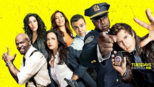 Brooklyn Nine-Nine karatasi la kupamba ukuta probably containing a mitaani, mtaa and a green beret entitled Brooklyn Nine-Nine
