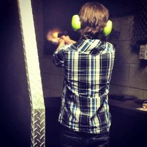 Chandler practicing shooting