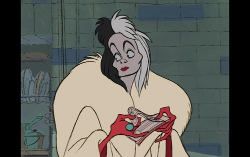 Childhood Animated Movie Villains Hintergrund containing Anime entitled Cruella De Vil