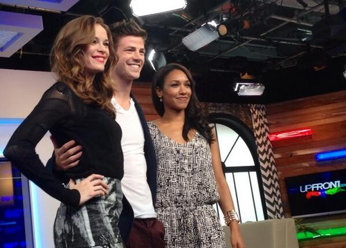 The Flash (CW) वॉलपेपर probably containing a रात का खाना dress, a bridesmaid, and a परिधान entitled Danielle Panabaker, Candice Patton and Grant Gustin at the CTV Upfronts in Toronto
