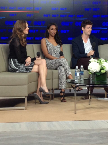 The Flash (CW) wallpaper possibly containing a business suit and a living room entitled Danielle Panabaker, Candice Patton and Grant Gustin at the CTV Upfronts in Toronto