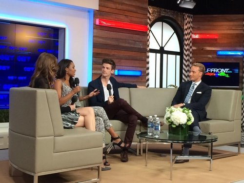 The Flash (CW) वॉलपेपर containing a living room and a family room entitled Danielle Panabaker, Candice Patton and Grant Gustin at the CTV Upfronts in Toronto