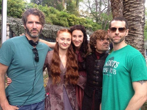Game of Thrones wallpaper entitled David Benioff, Sophie Turner, Sibel Kekilli, Peter Dinklage and D. B. Weiss