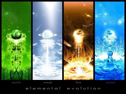 The Four Elements Hintergrund with Anime called Earth, air, fire, water