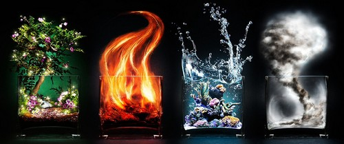 The Four Elements Hintergrund possibly with a feuer and a feuer entitled Earth, fire, water, air