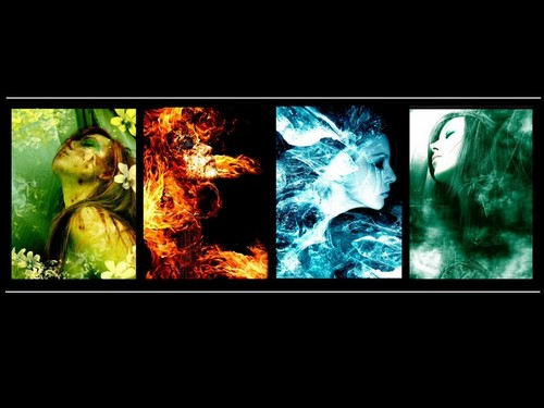 The Four Elements দেওয়ালপত্র probably with an embryonic cell titled Earth, fire, water, air