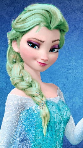 Frozen پیپر وال possibly containing a portrait called Elsa - Light Green Hair Color