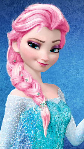 Frozen - Uma Aventura Congelante - Uma Aventura Congelante wallpaper probably containing a portrait titled Elsa - rosa, -de-rosa Hair Color