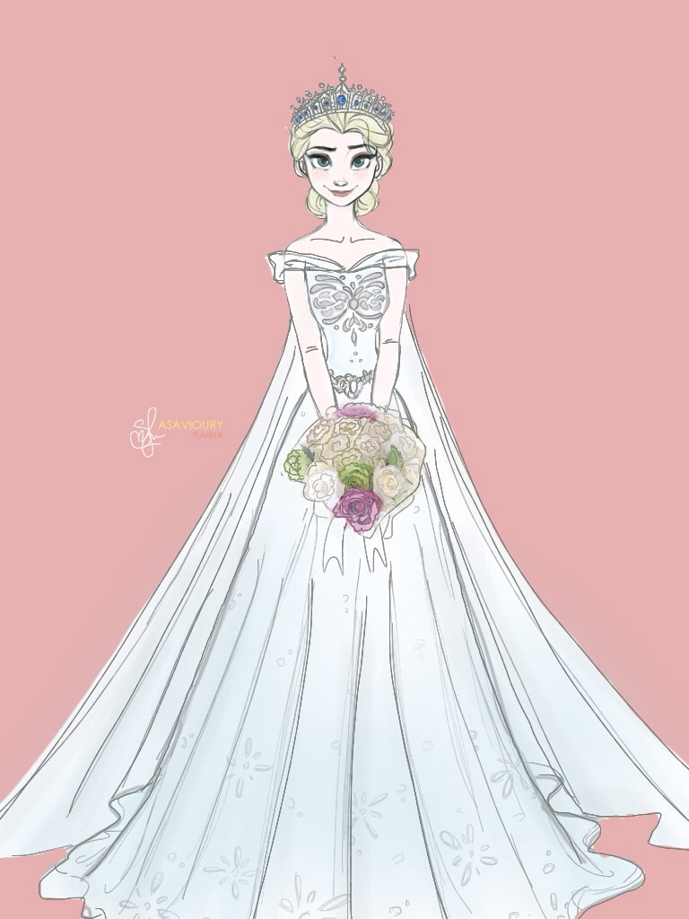 Elsa frozen fan art 37115819 fanpop for Designer disney wedding dresses