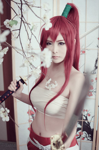 Fairy Tail Cosplay karatasi la kupamba ukuta containing a bouquet titled Erza Scarlet Cosplay