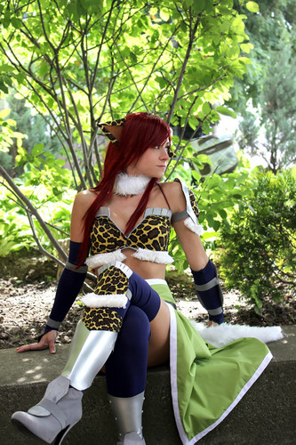 Fairy Tail Cosplay karatasi la kupamba ukuta probably containing hosiery, bare legs, and a hip boot titled Erza Scarlet Cosplay