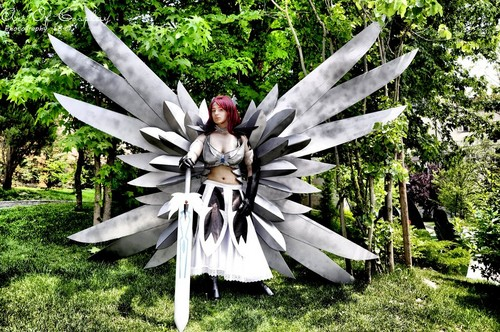 Fairy Tail Cosplay karatasi la kupamba ukuta probably containing an agave tequilana and a maguey titled Erza Scarlet Heaven's Wheel Cosplay