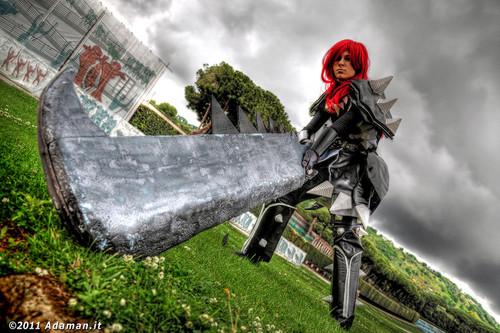 Fairy Tail Cosplay karatasi la kupamba ukuta titled Erza Scarlet Purgatory Armor Cosplay