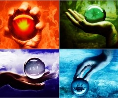 The Four Elements 壁紙 possibly with an embryonic cell titled Fire, earth, air, water