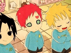 Gaara, Sasuke and 火影忍者 in KIndergarten
