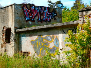 Graffitis on the old, abandoned factory in Krzeszowice, Poland
