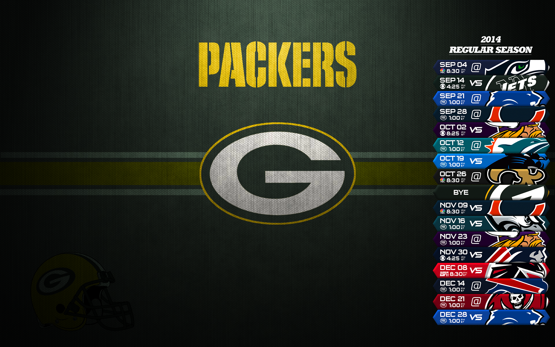 Green baía Packers Schedule 2014 wallpaper