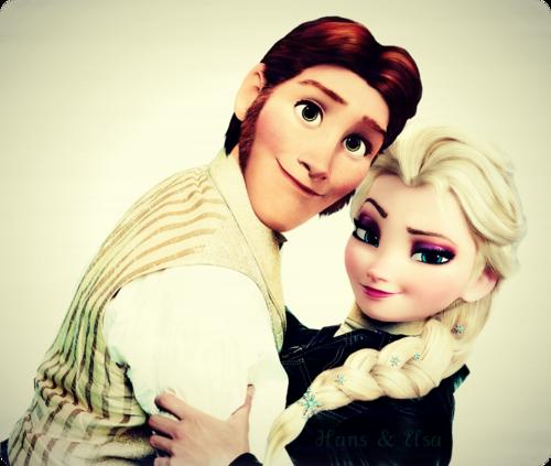 Frozen elsa and hans kiss