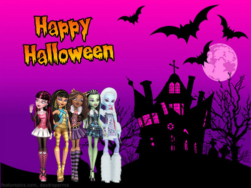 Monster High karatasi la kupamba ukuta possibly with a sign and anime entitled Happy Halloween