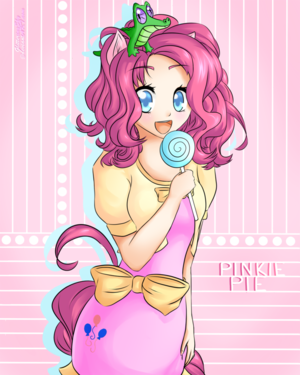 Human Pinkie Pie with Gummy the Alligator