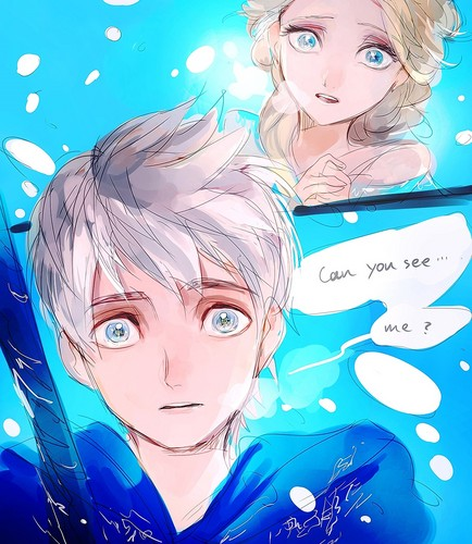 Elsa & Jack Frost karatasi la kupamba ukuta with anime entitled Jack and Elsa