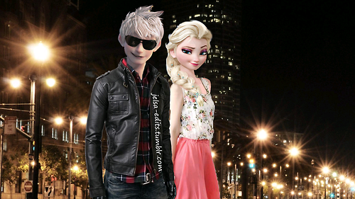 Elsa & Jack Frost karatasi la kupamba ukuta containing sunglasses and a business suit called Jack and Elsa