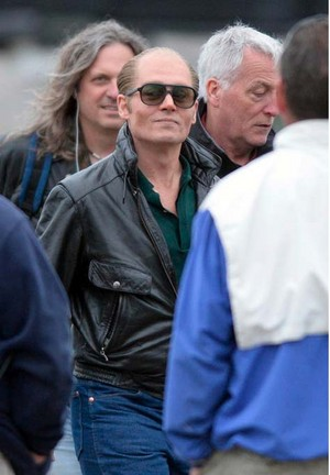 Johnny Depp as Whitey Bulger on Set of 'Black Mass'