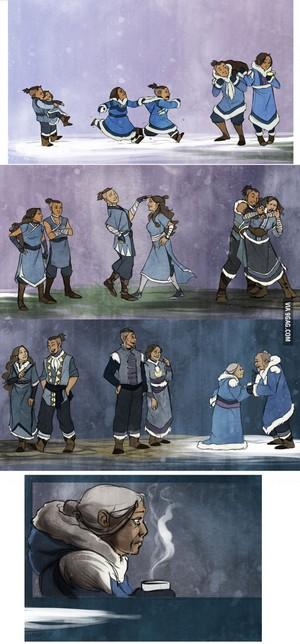 Katara and Sokka growing up