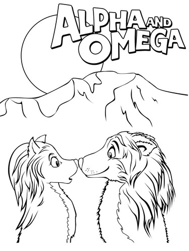 Alpha and Omega karatasi la kupamba ukuta probably with anime titled Kate and Humphrey coloring page