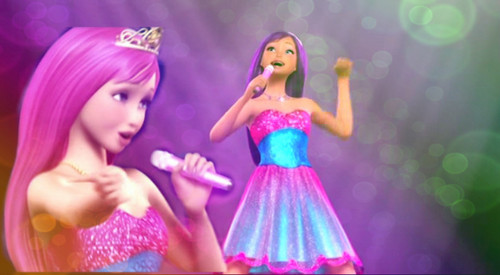 Barbie the Princess and the popstar wallpaper possibly containing a bridesmaid and a dinner dress entitled Keira and Tori's Blue and Pink Popstar Outfit