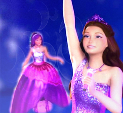 Barbie the Princess and the popstar wallpaper entitled Keira's Long Purple Gown