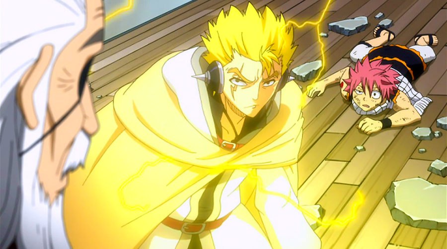 Laxus saves Natsu, Erza, Gray, Lucy and Wendy