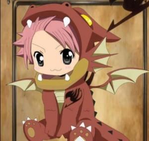 Little Natsu in an Igneel suit