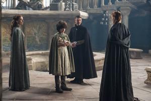 Lysa Arryn, Robin Arryn, Petyr Baelish and Sansa Stark