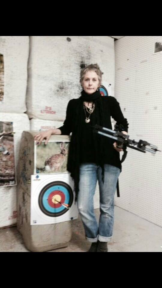 Mel with Daryl's crossbow!