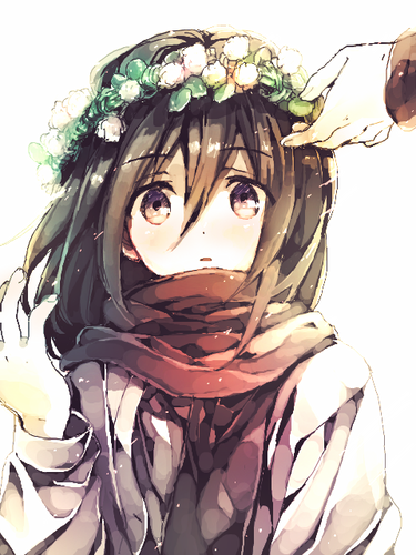 shingeki no kyojin (attack on titan) wallpaper possibly with a bouquet titled Mikasa Ackerman