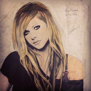 Avril Lavigne wallpaper with anime entitled My drawing of Avril Lavigne. Hope you like <3