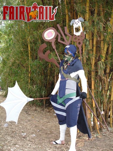 Fairy Tail Cosplay karatasi la kupamba ukuta possibly with a sign, a tabard, and a surcoat titled Mystogan Cosplay