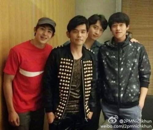 Nichkhun and Chansung take a photo with geai, jay Chou