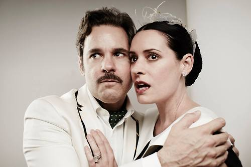 Paget Brewster wallpaper possibly with a business suit, a well dressed person, and a portrait entitled Paget Brewster and Paul F. Tompkins