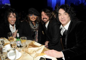 Paul Stanley, johnny Depp, Dave Grohl, and Alice Cooper