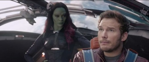 Guardians of the Galaxy 바탕화면 probably with an automobile titled Peter and Gamora