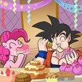 Pinkie Pie and Goku Chowing Down - pinkie-pie photo