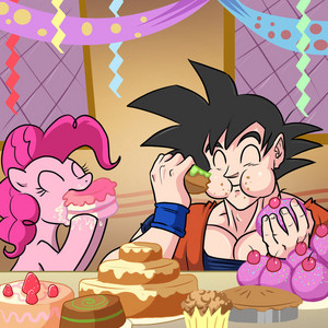 Pinkie Pie and 孫 悟空 Chowing Down
